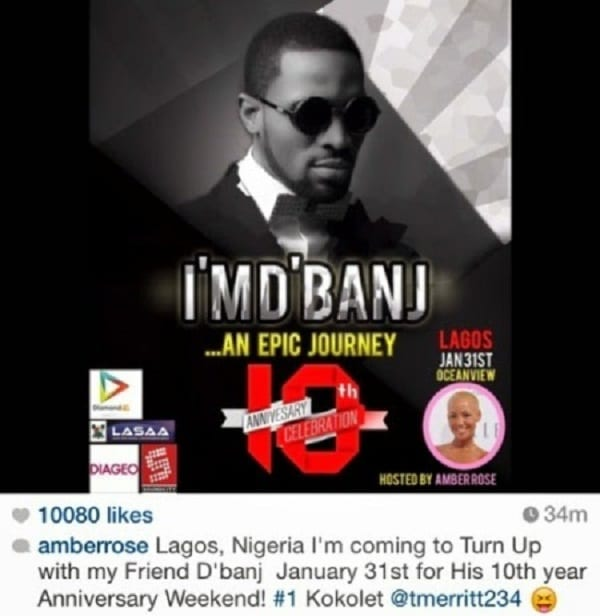 D'banj invite Amber Rose et Blac Chyna au Nigeria