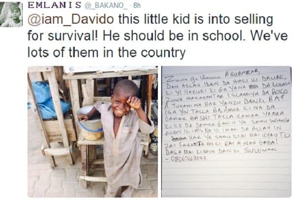 Davido promet de prendre en charge l'éducation de ce pauvre petit garçon sur Twitter: PHOTO