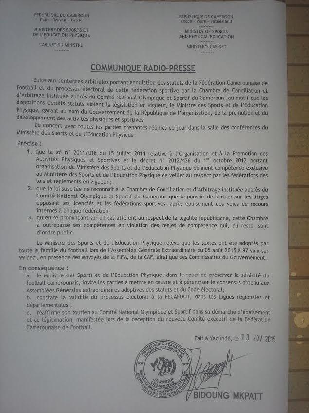 Le Ministre des Sports annule la sentence du Cnosc