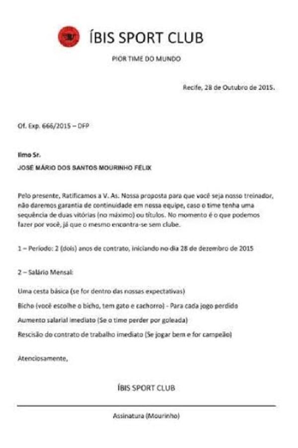 Une équipe propose de recruter José Mourinho promettant de lui verser chaque mois des paniers de nourriture