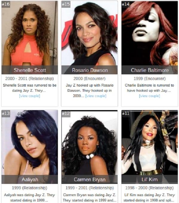 Liste des femmes avec qui Jay Z a (prétendument) trompé Beyoncé