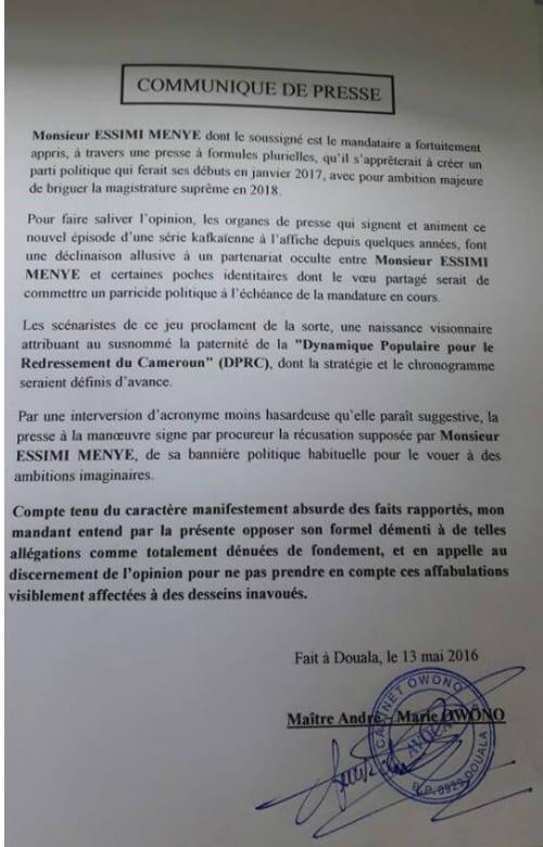 Cameroun: Depuis les États-Unis, Essimi Menye dit qu'il ne succèdera pas à Paul Biya (Communiqué)